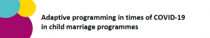 Upcoming webinar: Adaptive programming in times of COVID-19  in child marriage programmes